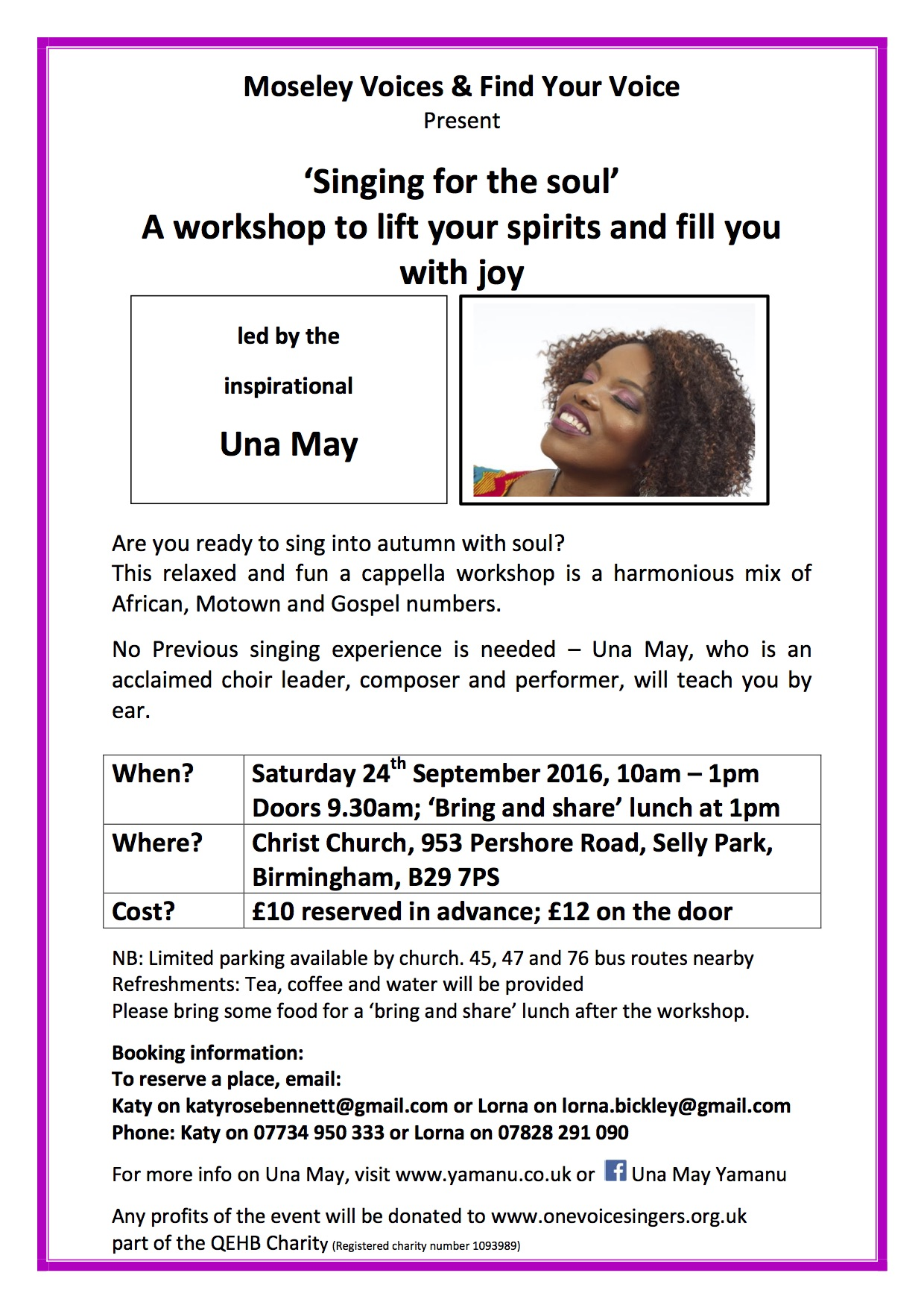 Una May Workshop Flyer September 2016